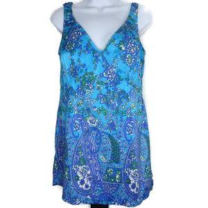 One Piece Blue Paisley Swimdress Swim Suit Dress